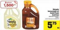 Simply Lemonade Or Gold Peak Iced Tea - 2.63 L