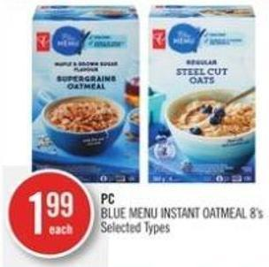 PC Blue Menu Instant Oatmeal 8's