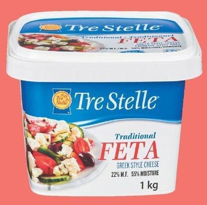 Tre Stelle Feta Cheese Tub - 1 Kg