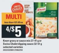 Knorr Gravy Or Sauce Mix 27-41 g Or Swiss Chalet Dipping Sauce 32-51 g