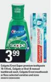 Colgate/crest Super Premium Toothpaste - 70-170 Ml - Colgate Or Oral-b Manual Toothbrush - Each - Colgate/crest Mouthwash Or Floss