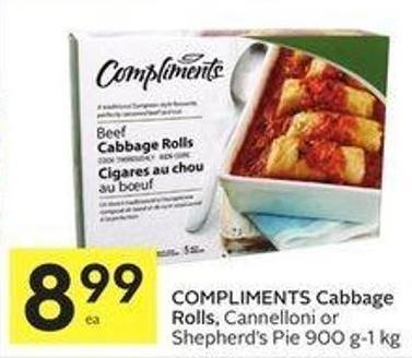 Compliments Cabbage Rolls - Cannelloni or Shepherd's Pie