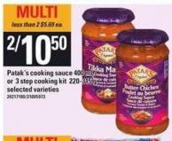 Patak's Cooking Sauce 400 Ml Or 3 Step Cooking Kit 220-315 G