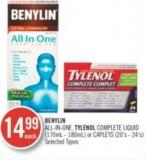 Benylin All-in-one - Tylenol Complete Liquid (170 mL - 180 Ml) or Caplets (20's - 24's)