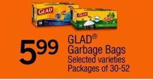 Glad Garbage Bags - Packages Of 30-52