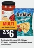 Tostitos Tortilla Chips 205-295 G Or PC Salsa 415/650 Ml