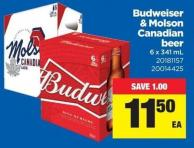 Budweiser & Molson Canadian Beer - 6 X 341 mL