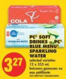 PC Soft Drinks or PC Blue Menu Sparkling Water - 12 X 355 mL