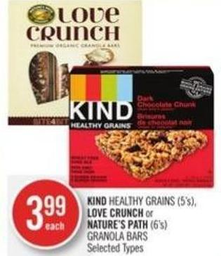 Kind Healthy Grains (5's) - Love Crunch or Nature's Path (6's) Granola Bars