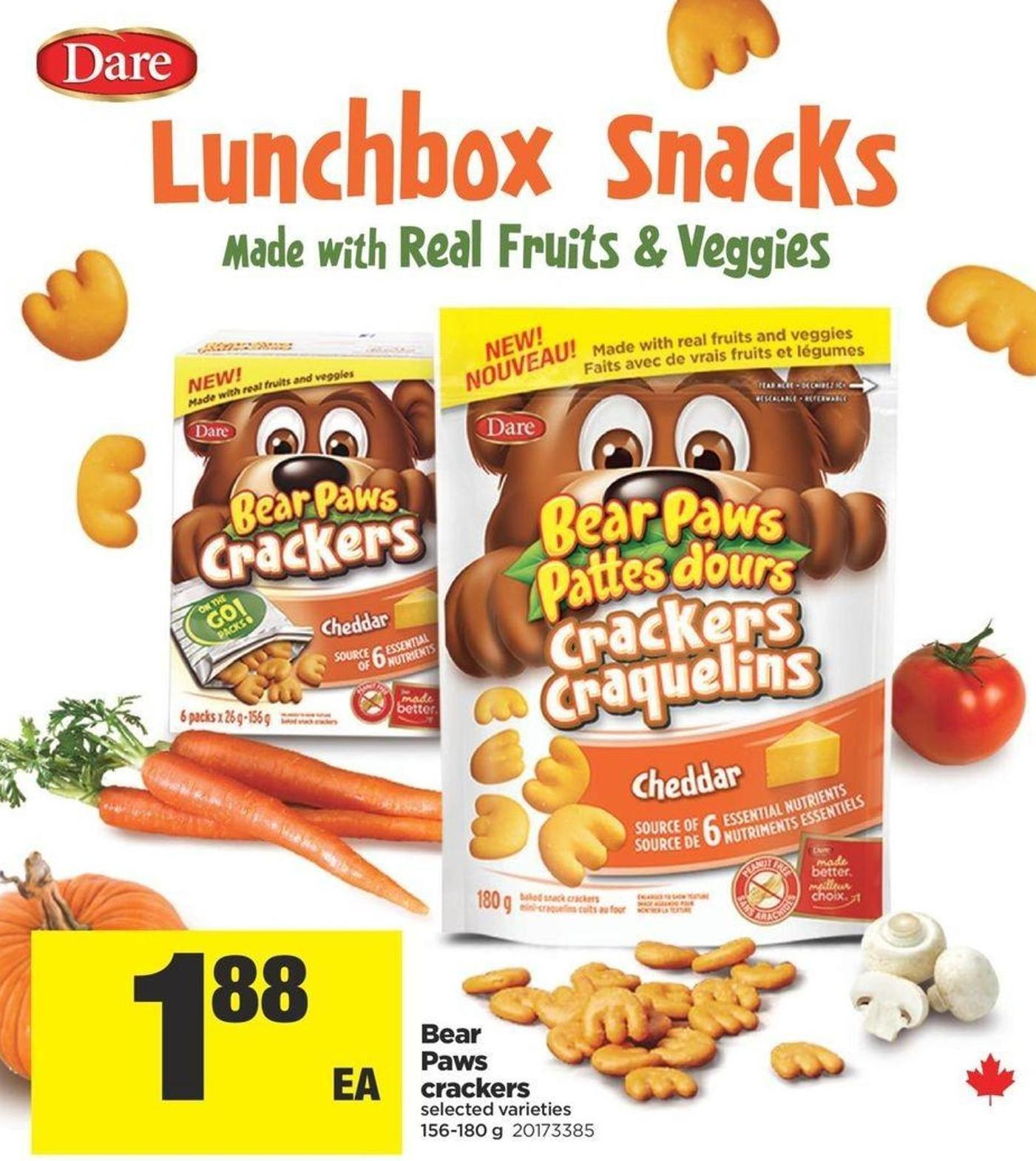 Bear Paws Crackers - 156-180 g