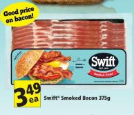 Swift Smoked Bacon 375g