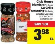 Club House Blends 111-144 g or La Grille Seasoning 120-248 g