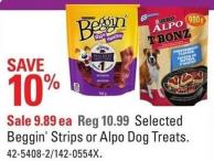 Purina Selected Beggin' Strips or Alpo Dog Treats