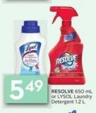 Resolve 650 mL or Lysol Laundry Detergent 1.2 L