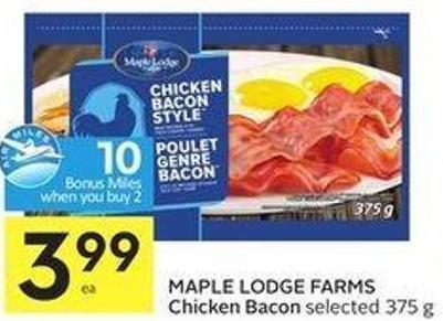 Maple Lodge Farms Chicken Bacon Selected 375 g - 10 Air Miles Bonus Miles