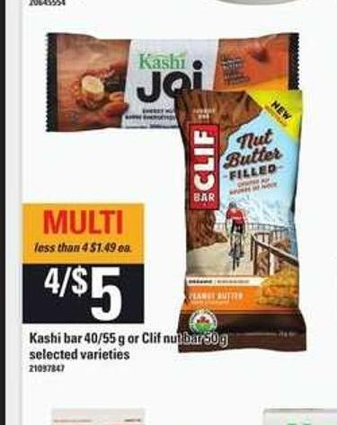 Kashi Bar - 40/55 G Or Clif Nut Bar - 50 G