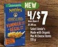 Select Annie's Made With Organic Mac N Cheese Items