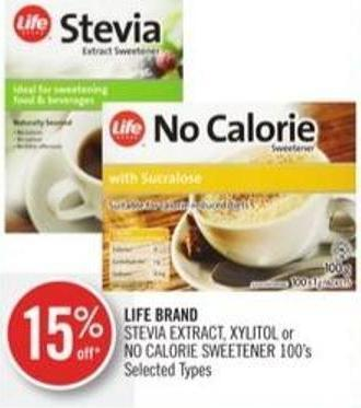Life Brand Stevia Extract - Xylitol or No Calorie Sweetener 100's