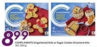 Compliments Gingerbread Kids or Sugar Cookie Ornament Kits 361-394 g