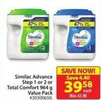 Similac Advance Step 1 or 2 or Total Comfort 964 g Value Pack