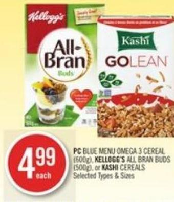 PC Blue Menu Omega 3 Cereal (600g) - Kellogg's All Bran Buds (500g) - or Kashi Cereals