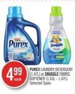 Purex Laundry Detergent (1.47l) or Snuggle Fabric Softener (1.43l - 1.47l)