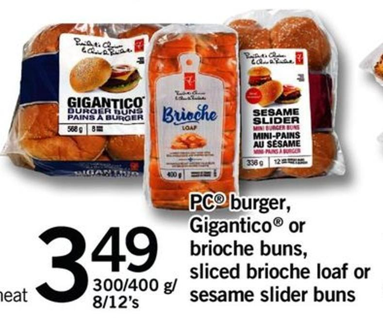 PC Burger - Gigantico Or Brioche Buns - Sliced Brioche Loaf Or Sesame Slider Buns - 300/400 G/ 8/12's