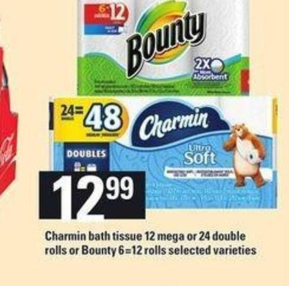 Charmin Bath Tissue - 12 Mega Or 24 Double Rolls Or Bounty - 6=12 Rolls