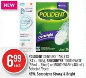 Polident Denture Tablets (84's - 96's) - Sensodyne Toothpaste (65ml - 75ml) or Mouthwash (484ml)