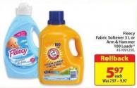 Fleecy Fabric Softener 3 L or Arm & Hammer 100 Loads