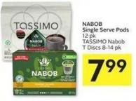 Nabob Single Serve Pods 12 Pk Tassimo Nabob T Discs 8-14 Pk