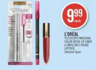 L'oréal Telescopic Mascara - Color Riche Lip Liner or Infallible Rouge Lipstick