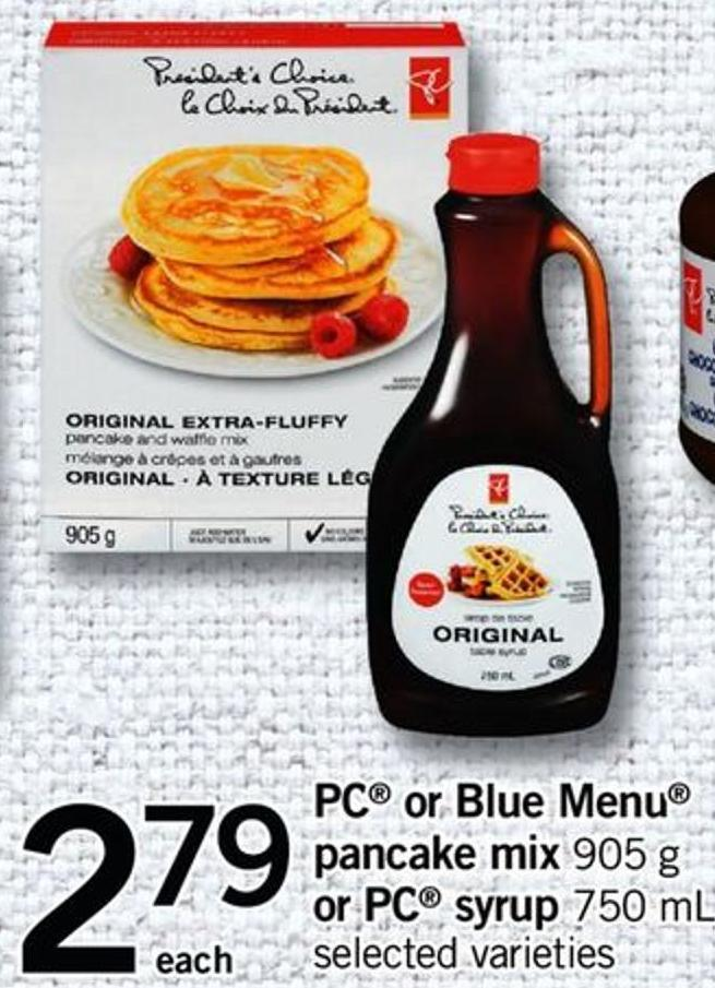 PC Or Blue Menu Pancake Mix - 905 G Or PC Syrup - 750 Ml