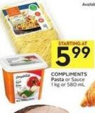 Compliments Pasta or Sauce 1 Kg or 580 mL