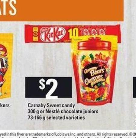 Carnaby Sweet Candy - 300 g or Nestlé Chocolate Juniors - 73-166 g