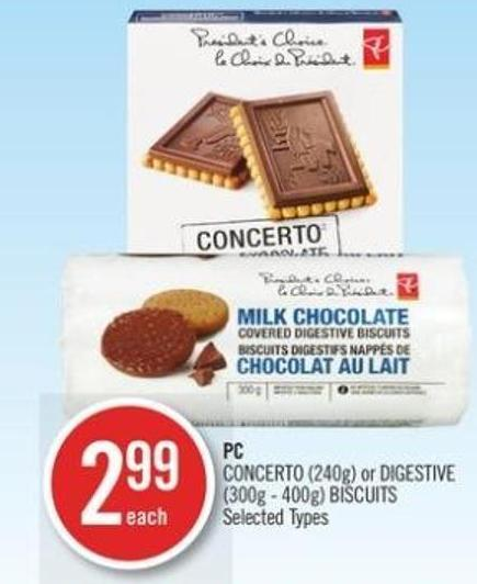 PC Concerto (240g) or Digestive (300g - 400g) Biscuits