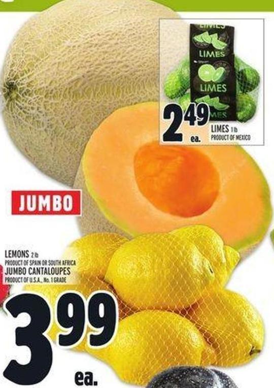 Jumbo Lemons 2 Lb Product Of Spain Or South Africa or Jumbo Cantaloupes Product Of U.S.A. - No. 1 Grade