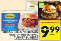 Irresistibles Naturalia Beef Or Butterball Turkey Burgers