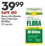 Renew Life Ultimate  Flora Colon Care  80 Billion 30 Capsules