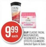 Olay Classic Facial Moisturizers - Regenerist or Total Effects Cleansers