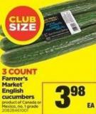 Farmer's Market English Cucumbers - 3 Count