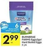 Burnbrae Farms Eggs2go! Hard Boiled Eggs 6 Pk - 6 Air Miles Bonus Miles
