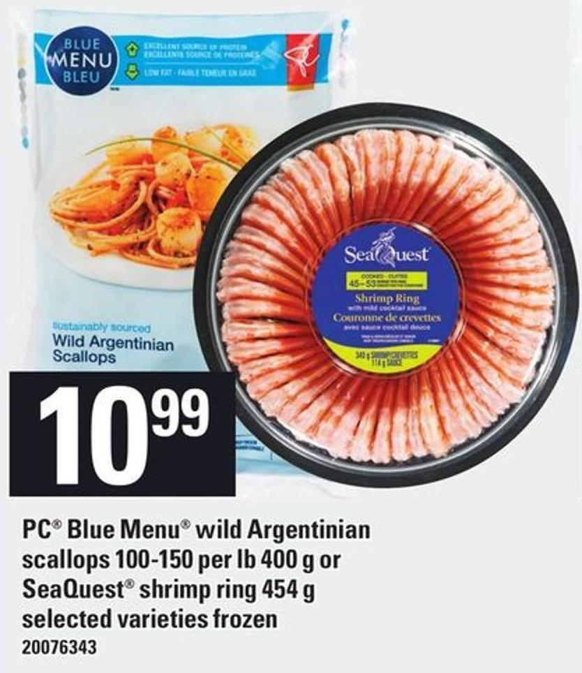 PC Blue Menu Wild Argentinian Scallops 100-150 Per Lb 400 G Or Seaquest Shrimp Ring 454 G