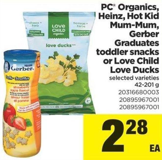 PC Organics - Heinz - Hot Kid Mum-mum - Gerber Graduates Toddler Snacks Or Love Child Love Ducks - 42-201 G