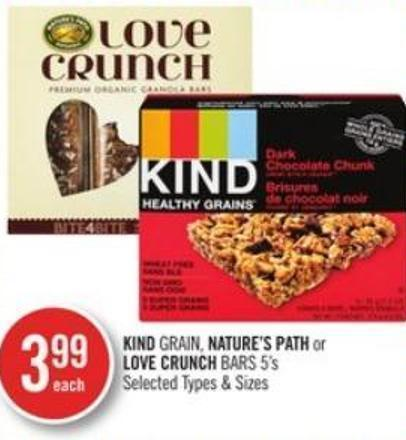 Kind Grain - Nature's Path or Love Crunch Bars 5's