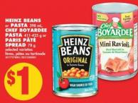 Heinz Beans or Pasta - 398 mL - Chef Boyardee Pasta - 411-425 g or Paris Pâté Spread - 78 g