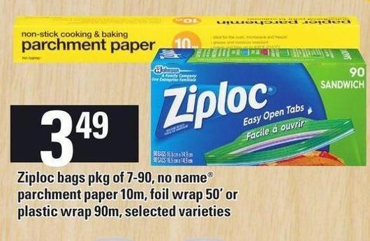 Ziploc Bags Pkg Of 7-90 - No Name Parchment Paper 10m - Foil Wrap 50' Or Plastic Wrap 90m