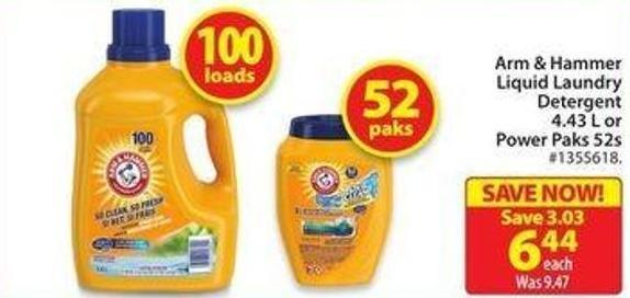 Arm & Hammer Liquid Laundry Detergent 4.43 L or Power Paks 52s