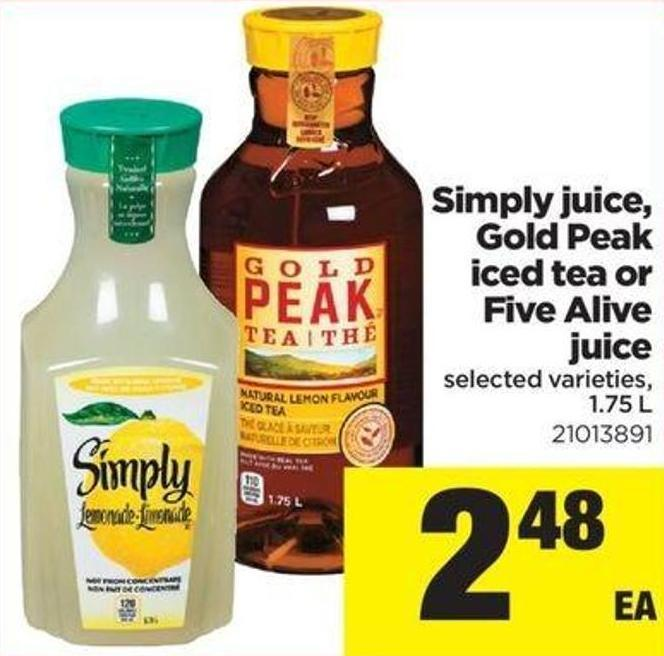 Simply Juice - Gold Peak Iced Tea Or Five Alive Juice - 1.75 L