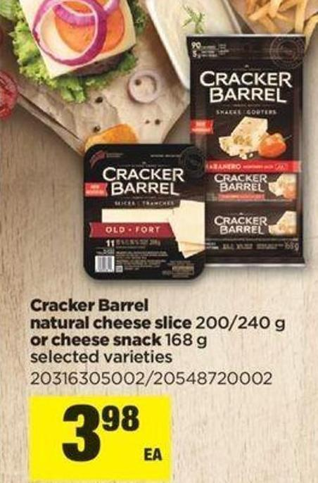Cracker Barrel Natural Cheese Slice - 200/240 G Or Cheese Snack - 168 G